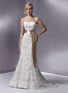 A-ligne sans bretelles robe de mariée en dentelle - Robes de Mariage Boutique