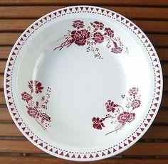 6 anciennes assiettes plates digoin sarreguemines d v service denise fleur rouge vaisselle. Black Bedroom Furniture Sets. Home Design Ideas