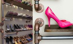 Steampunk Awesome and dashing industrial DIY shoe rack [From: Home Dzine] Buy Dc Kids Shoes And Dc K Diy Shoe Rack, Shoes Stand, Cord Organization, Organizer, Design, Home Decor, Garden Decorations, Industrial, Awesome