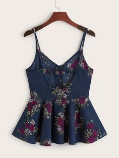 Shop Floral Print Cut Out Back Peplum Cami Top at ROMWE, discover more fashion styles online. Cute Comfy Outfits, Girly Outfits, Casual Outfits, Teen Fashion Outfits, Look Fashion, Baby Dress Design, Fancy Tops, Crop Top Outfits, Mode Inspiration