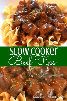 It is Fall and it is time to break out the slow cooker and these beef tips are a MUST MAKE! They are rich, comforting and have a DELICIOUS GRAVY that is perfect over your favorite noodles or mashed potatoes! beef recipes Slow Cooker Beef Tips Beef Steak Recipes, Beef Recipes For Dinner, Healthy Crockpot Recipes, Crockpot Meals, Chicken Recipes, Stewing Beef Recipes, Recipe For Beef Tips, Recipes With Beef Cubes, Recipes For Stew Meat