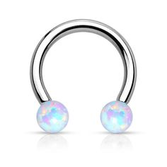 Synthetic Opal Horseshoe Circular Barbell Surgical Steel Internally Threaded Ring Great for Nipple Piercings, Septum Rings, and Cartilage Bijoux Piercing Septum, Piercing Smiley, Daith Earrings, Lip Piercing, Ear Piercings, Septum Ring, Piercing Ideas, Tragus, Eyebrow Jewelry