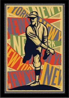 Art Deco 1920s New York Baseball Poster by cieradkowskidesign