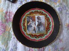 prato de vidro pintado com fotografia