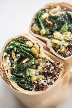 Make Ahead Super Green Vegan Quinoa Burritos: vegan burritos packed with all the good stuff - quinoa, mung beans, and lots of kale - tossed with a creamy, serrano-spiked avocado dressing. Lunch Recipes, Whole Food Recipes, Vegetarian Recipes, Cooking Recipes, Healthy Recipes, Protein Recipes, Healthy Meals, Bread Recipes, Keto Recipes