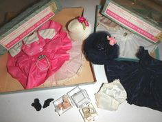 They have matching hats with flowers, that are both in great condition. There are 2 pairs of undies and 3 petticoats. There is a pearl necklace(with corrosion) and 3 pairs of shoes. The pink pair are very pretty with little silk flowers on the straps. | eBay!