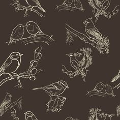 Bird Toile (black and white) fabric by nimochka on Spoonflower - Love this