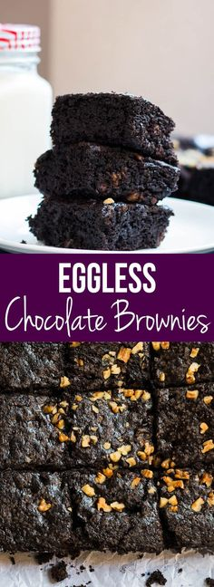 Decadent, super fudgy homemade eggless chocolate brownies that are super easy to make. Perfect dessert for the vegetarian brownie lover. My Food Story | Vegetarian Dessert | Chocolate | Eggless Brownie