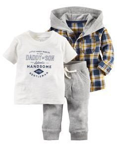 Featuring a flannel shirt jacket, this 3-piece set is complete with cozy French terry pants and a soft graphic tee.