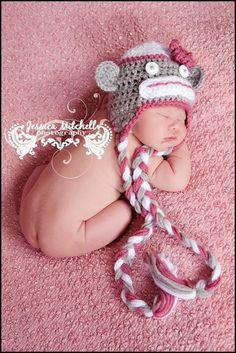 Baby Crochet Sock Monkey Hat Photography Prop by TreasuredCreation, $19.99
