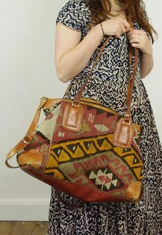 Leather And Tapestry Oversized Carpet Holdall Bag