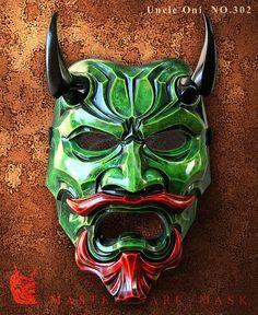 Uncle Oni Mask 302 Green Fiberglass Japanese noh by TheDarkMask Oni Maske, Kitsune Maske, Japanese Demon Mask, Japanese Mask, Samurai Art, Samurai Warrior, Mascara Oni, Samourai Tattoo, Japanese Legends