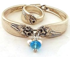 March Spoon Ring Bracelet Set DAFFODIL Antique Jewelry Sterling Silverplate Upcycled Silverware Flatware Handle Handmade Floral Braclet