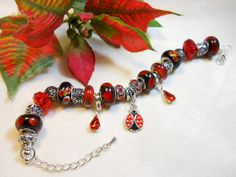 Lady Bug Bracelet Red European Style Charm by TheresACharm4That, $35.00