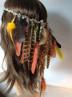 Headband Hatband Feathers Costume Hippie by BeadazzledBySharon, $60.00