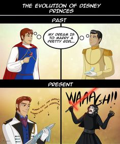 The evolution of Disney princes by Morgaer on DeviantArt // at least they're no longer shallow
