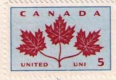 Scott #417, 1964, Maple Leaves. Part of the Provincial Flowers and Coats of Arms collection. 36,870,000 issued. Source: 2014 Unitrade Catalogue, pg. 152.