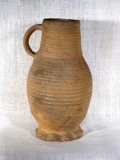 Antiquité Cruche allemande du Moyen Age en terre cuite à anse poterie Haute Epoque médiévale
