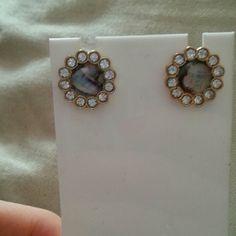 """Abalone n crystal studs Beautiful. Approx 3/4"""" pierced post earrings Jewelry Earrings"""