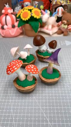 Cute Polymer Clay, Cute Clay, Diy Clay, Polymer Clay Mushroom, Polymer Clay Halloween, Polymer Clay Fairy, Polymer Clay Miniatures, Clay Crafts For Kids, Cute Crafts