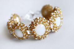 Handmade White and Golden Yellow Beaded Cabochon Bracelet