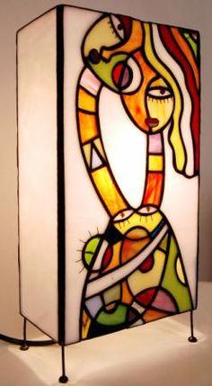 lámpara de sobremesa  vidrio,estaño,cobre tiffany