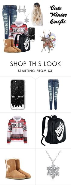 """""""Cute Winter Outfit"""" by autumn-kirby2020 on Polyvore featuring Casetify, Current/Elliott, NIKE, UGG Australia, Winter, Christmas, cute and school"""
