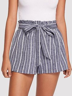 COLROVIE Elastic Waist Pinstripe Shorts 2018 New Summer Elastic Waist Vintage Shorts Grey Striped Belted Vacation Women Shorts Shorts Outfits Women, Summer Outfits Women, Short Outfits, Short Dresses, Casual Outfits, Cute Outfits, Fashion Clothes, Fashion Outfits, Type Of Pants