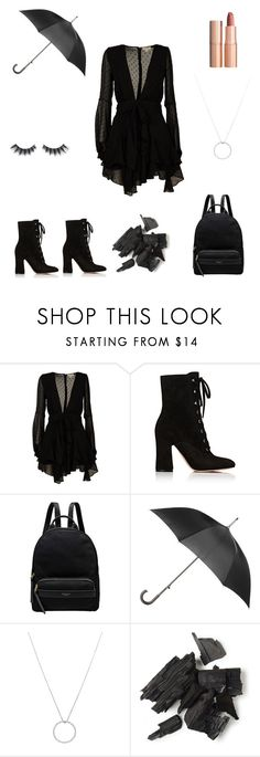 """""""Untitled #4"""" by tatuli-togoxia ❤ liked on Polyvore featuring For Love & Lemons, Gianvito Rossi, Radley, Totes, Roberto Coin, Violet Voss and Charlotte Tilbury"""