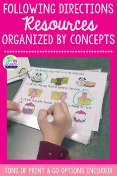 Children are required to follow teacher's directions all day in the classroom. For some students, such as those with language impairments, auditory processing disorders, or autism, following along with these directions may be difficult. These  fun activities for kids target following directions in a variety of formats that cater to your students' learning style. #therapyideas #speechtherapy