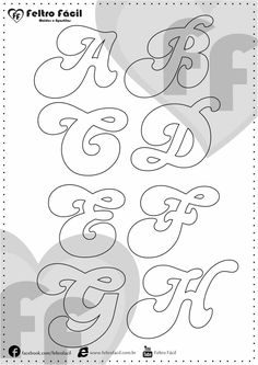 ALPHABET LETTER MOLDS - We selected here in this post some molds of alphabet letters for felt productions already edited in natural size! Stencil Lettering, Lettering Tutorial, Felt Crafts, Diy And Crafts, Paper Crafts, Banner Doodle, Pop Up Flower Cards, Letter Stencils, Felt Patterns