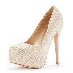 fe573c95f26 DREAM PAIRS Women s Swan-30 Gold Glitter High Heel Plaform Dress Pump Shoes  Size 5 M US