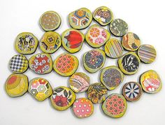 Calico Circles Collection of 26 Wooden by porkchopshow on Etsy, $7.95