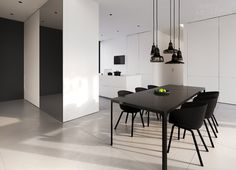 This clean interior design of a detached house in Warsaw, by Tamizo Architects, depicts a serene take on modern day living style, with a spacious open plan visi Interior Exterior, Interior Design Kitchen, Modern Interior Design, Modern Decor, Interior Architecture, Black Dinning Table, Black And White Dining Room, Black White, Dining Table