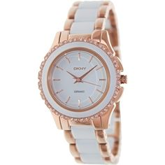 Dkny Women s Two-Tone Ceramic Quartz Watch with White Dial c9cca52698