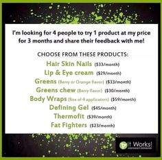 I am building my brag book! I would love to add you as my next success story! Who wants to be my next 4 product testers? Pick a product or two to get my whole sale price! AND earn free product! Who's Ready?   Text or call me 573-379-6950 www.wrappinrussells. com
