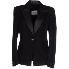 Pierre Balmain Blazer ($750) ❤ liked on Polyvore featuring outerwear, jackets, blazers, black, long sleeve blazer, logo jackets, collar jacket, one button blazer and long sleeve jacket