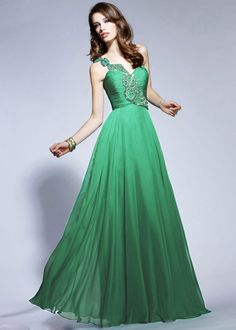 Glamorous emerald green beaded one-shoulder neckline ruched chiffon A-line ball gown evening prom dress P12006