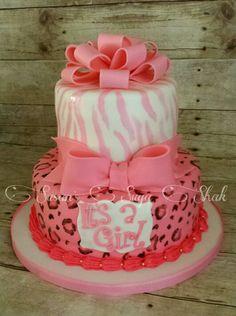 Zebra And Cheetah Print Pink Safari Cake · Safari Baby Shower ...