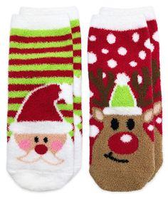 2839b910c7c 2894 Fuzzy Non-Skid Santa and Reindeer Christmas Slipper Socks 2 Pair Pack  Reindeer Christmas