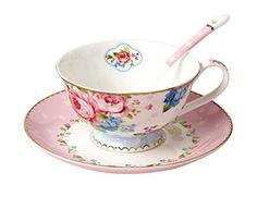 Jsaron Porcelain Tea Coffee Cup Romantic Rose Series with Spoon and Saucer Set Coffee Mug - http://teacoffeestore.com/jsaron-porcelain-tea-coffee-cup-romantic-rose-series-with-spoon-and-saucer-set-coffee-mug/