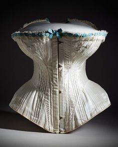 c1895 Corset - Costume/clothing underwear/upper body, Silk satin and cotton twill, and boning with silk-thread embroidery and silk lace and ribbon trim. Found at http://collectionsonline.lacma.org/mwebcgi/mweb.exe?request=record;id=139148;type=101#