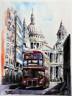 Original Artwork, Original Paintings, Red Bus, London Bus, Rembrandt, Watercolour Painting, Handmade Art, Big Ben, Cathedral