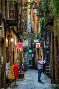 Old town in Barcelona,Spain.