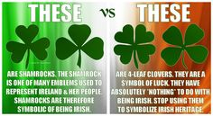 This is why the shamrock tattoo on my back has 3 leaves, & why I hate when people tell me I got an unlucky shamrock tattooed onto my body. I got it to represent my Irish heritage. Duh!