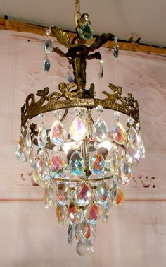 Vintage Bronze Brass Cherub Angel Chandelier Ceiling Light Fixture Lamp Crystals #Unknown