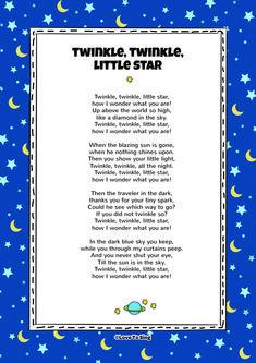 Twinkle Twinkle Little Star Nursery Rhyme. Kids will love this fun sing along rh… Twinkle Twinkle Little Star Nursery Rhyme. Kids will love this fun sing along rhyme! Free lyrics and music on our website Nursery Songs Lyrics, Baby Lyrics, Free Lyrics, Kids Song Lyrics, Bedtime Nursery Rhymes, Bedtime Songs, Nursery Rhymes Songs, Nursery Poem, Kids Video Songs
