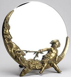 Mirror-Dresser Top; Art Deco Style, Brass Easel, Round, Man in Moon Frame, 12 inch.