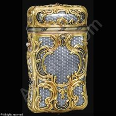 Faberge gold and enameled cigarette case; c. 1900
