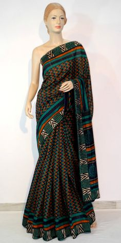 Buy Designer Motka Silk Saree  Online : http://www.maanacreation.com/product-view/?id=1077  A beautiful Blue-Green colour raw silk saree with contrast embroidered patch work border to give it gorgeous look.